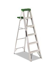 DADAS4006 ALUMINUM STEP LADDER, 6 FT WORKING HEIGHT, 225 LBS CAPACITY, 5 STEP, ALUMINUM/GREEN