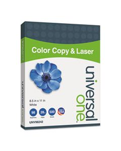 UNV96242 DELUXE COLOR COPY & LASER PAPER, 98 BRIGHT, 28LB, 8.5 X 11, WHITE, 500/REAM