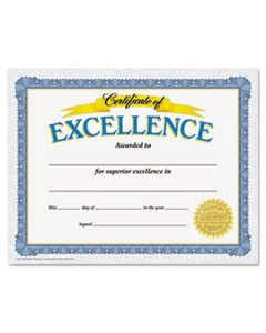 TEPT11301 AWARDS AND CERTIFICATES, EXCELLENCE, 8 1/2 X 11, WHITE/BLUE/GOLD