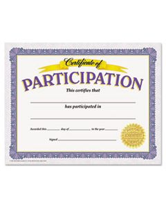 TEPT11303 AWARDS AND CERTIFICATES, PARTICIPATION, 8 1/2 X 11, WHITE/PURPLE/GOLD