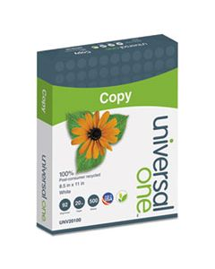 UNV20100 100% RECYCLED COPY PAPER, 92 BRIGHT, 20LB, 8.5 X 11, WHITE, 500 SHEETS/REAM, 10 REAMS/CARTON