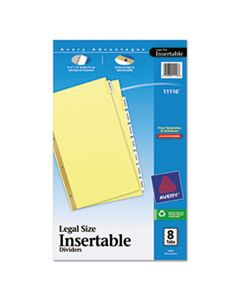 AVE11116 INSERTABLE STANDARD TAB DIVIDERS, 8-TAB, LEGAL