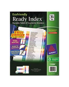 AVE11084 CUSTOMIZABLE TABLE OF CONTENTS READY INDEX DIVIDERS WITH MULTICOLOR TABS, 31-TAB, 1 TO 31, 11 X 8.5, WHITE, 1 SET
