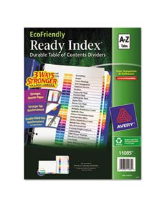 AVE11085 CUSTOMIZABLE TABLE OF CONTENTS READY INDEX DIVIDERS WITH MULTICOLOR TABS, 26-TAB, A TO Z, 11 X 8.5, WHITE, 1 SET