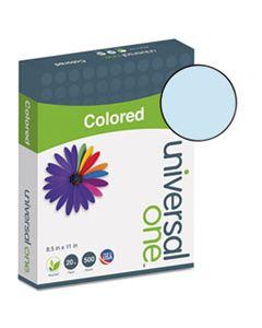 UNV11202 DELUXE COLORED PAPER, 20LB, 8.5 X 11, BLUE, 500/REAM