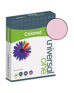 UNV11204 DELUXE COLORED PAPER, 20LB, 8.5 X 11, PINK, 500/REAM