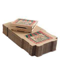 ARV9124314 CORRUGATED PIZZA BOXES, 12 X 12 X 1 3/4, KRAFT, 50/CARTON