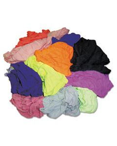HOS24510 NEW COLORED KNIT POLO T-SHIRT RAGS, ASSORTED COLORS, 10 POUNDS/BAG