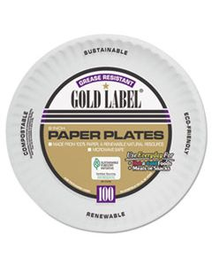 AJMCP9GOAWH COATED PAPER PLATES, 9 INCHES, WHITE, ROUND, 100/PACK