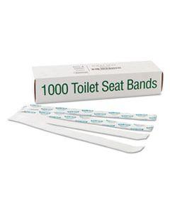 "BGC300591 SANI/SHIELD PRINTED TOILET SEAT BAND, PAPER, BLUE/WHITE, 16"" WIDE X 1-1/2"" DEEP"
