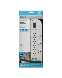 BLKBV11205006 HOME/OFFICE SURGE PROTECTOR, 12 OUTLETS, 6 FT CORD, 3996 JOULES, WHITE/BLACK