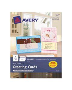 AVE3265 HALF-FOLD GREETING CARDS, INKJET, 5 1/2 X 8 1/2, MATTE WHITE, 20/BOX W/ENVELOPES