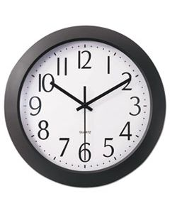 "UNV10451 WHISPER QUIET CLOCK, 12"" OVERALL DIAMETER, BLACK CASE, 1 AA (SOLD SEPARATELY)"