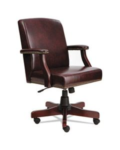 ALETD4236 ALERA TRADITIONAL SERIES MID-BACK CHAIR, SUPPORTS UP TO 275 LBS., OXBLOOD BURGUNDY SEAT/OXBLOOD BURGUNDY BACK, MAHOGANY BASE
