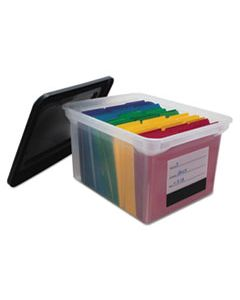 """AVT55802 FILE TOTE WITH CONTENTS LABEL, LETTER/LEGAL FILES, 17.75"""" X 14"""" X 10.25"""", CLEAR/BLACK"""
