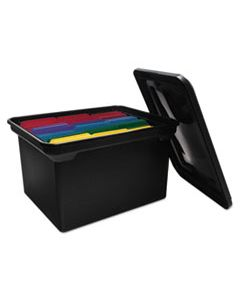 """AVT34052 FILE TOTE WITH LID, LETTER/LEGAL FILES, 14.13"""" X 18"""" X 10.75"""", BLACK"""