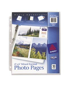 AVE13401 PHOTO STORAGE PAGES FOR SIX 4 X 6 MIXED FORMAT PHOTOS, 3-HOLE PUNCHED, 10/PACK