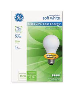 GEL66248 ENERGY-EFFICIENT A19 HALOGEN BULB, SOFT WHITE 53 W, 4/PACK