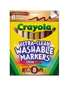 CYO587801 MULTICULTURAL COLORS WASHABLE MARKER, BROAD BULLET TIP, ASSORTED COLORS, 8/PACK