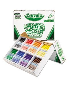 CYO588200 ULTRA-CLEAN WASHABLE MARKER CLASSPACK, BROAD BULLET TIP, ASSORTED COLORS, 200/BOX