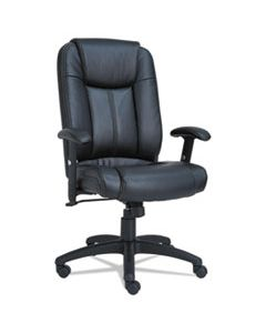 ALECC4119 ALERA CC SERIES EXECUTIVE HIGH-BACK SWIVEL/TILT LEATHER CHAIR, SUPPORTS UP TO 275 LBS., BLACK SEAT/BLACK BACK, BLACK BASE