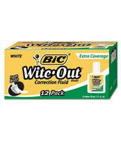 BICWOFEC12WE WITE-OUT EXTRA COVERAGE CORRECTION FLUID, 20 ML BOTTLE, WHITE, 1/DOZEN