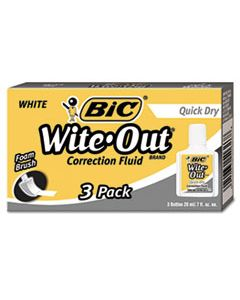 BICWOFQD324 WITE-OUT QUICK DRY CORRECTION FLUID, 20 ML BOTTLE, WHITE, 3/PACK