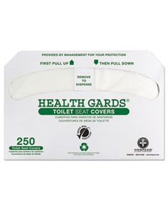 HOSGREEN1000 HEALTH GARDS GREEN SEAL RECYCLED TOILET SEAT COVERS, WHITE, 250/PK, 4 PK/CT