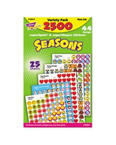 TEPT46914 SUPERSPOTS AND SUPERSHAPES STICKER VARIETY PACKS, SEASONS, 2,500/PACK