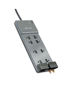 BLKBE10823012 HOME/OFFICE SURGE PROTECTOR, 8 OUTLETS, 12 FT CORD, 3390 JOULES, DARK GRAY