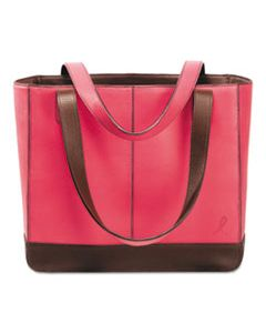 DTM48420 PINK RIBBON LEATHER TOTE, 11 1/2 X 4 X 10, PINK/CHOCOLATE