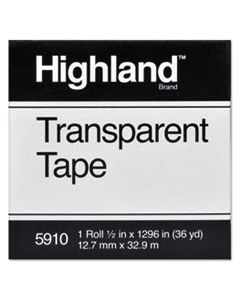 "MMM5910121296 TRANSPARENT TAPE, 1"" CORE, 0.5"" X 36 YDS, CLEAR"