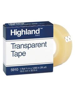 "MMM5910341296 TRANSPARENT TAPE, 1"" CORE, 0.75"" X 36 YDS, CLEAR"