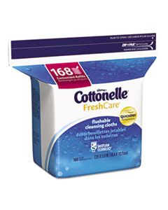 KCC10358CT FRESH CARE FLUSHABLE CLEANSING CLOTHS, WHITE, 5X7 1/4, 168/PACK,8 PACK/CARTON