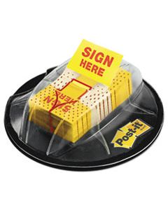 """MMM680HVSH PAGE FLAGS IN DISPENSER, """"SIGN HERE"""", YELLOW, 200 FLAGS/DISPENSER"""