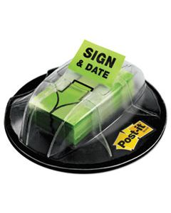 """MMM680HVSD PAGE FLAGS IN DISPENSER, """"SIGN & DATE"""", BRIGHT GREEN, 200 FLAGS/DISPENSER"""