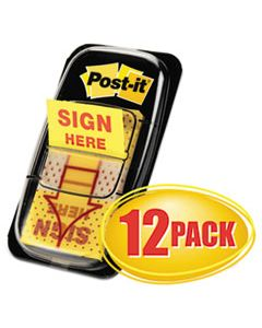 "MMM680SH12 ARROW MESSAGE 1"" PAGE FLAGS, SIGN HERE, YELLOW, 50/DISPENSER, 12 DISPENSERS/PK"
