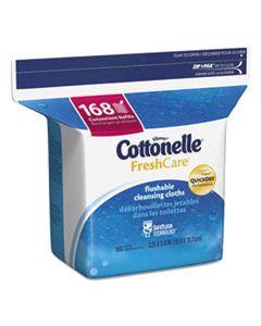 KCC10358EA FRESH CARE FLUSHABLE CLEANSING CLOTHS, WHITE, 5 X 7 1/4, 168/PACK