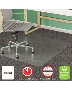 DEFCM14243 SUPERMAT FREQUENT USE CHAIR MAT, MED PILE CARPET, 45 X 53, BEVELED RECTANGLE, CLEAR