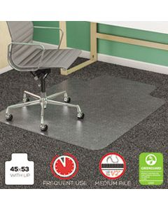 DEFCM14233 SUPERMAT FREQUENT USE CHAIR MAT FOR MEDIUM PILE CARPET, 45 X 53, WIDE LIPPED, CLEAR