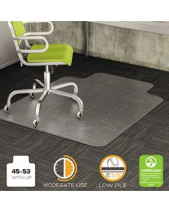 DEFCM13233 DURAMAT MODERATE USE CHAIR MAT FOR LOW PILE CARPET, 45 X 53, WIDE LIPPED, CLEAR
