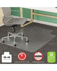 DEFCM14113 SUPERMAT FREQUENT USE CHAIR MAT, MED PILE CARPET, FLAT, 36 X 48, LIPPED, CLEAR