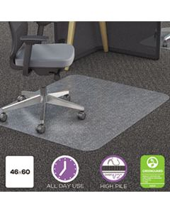 DEFCM11442FPC POLYCARBONATE ALL DAY USE CHAIR MAT - ALL CARPET TYPES, 46 X 60, RECTANGLE, CLEAR