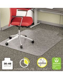 DEFCM11112 ECONOMAT OCCASIONAL USE CHAIR MAT, LOW PILE CARPET, FLAT, 36 X 48, LIPPED, CLEAR