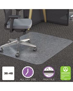 DEFCM11142PC POLYCARBONATE ALL DAY USE CHAIR MAT - ALL CARPET TYPES, 36 X 48, RECTANGULAR, CLEAR