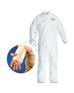 KCC42526 A40 BREATHABLE BACK COVERALL WITH THUMB HOLE, WHITE/BLUE, LARGE, 25/CARTON