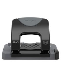 """SWI74135 20-SHEET SMARTTOUCH TWO-HOLE PUNCH, 9/32"""" HOLES, BLACK/GRAY"""