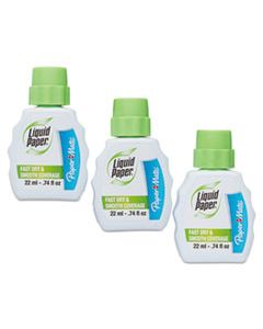 PAP5643115 FAST DRY CORRECTION FLUID, 22 ML BOTTLE, WHITE, 3/PACK