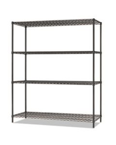 ALESW206018BA ALL-PURPOSE WIRE SHELVING STARTER KIT, 4-SHELF, 60 X 18 X 72, BLACK ANTHRACITE PLUS