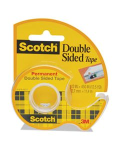 "MMM137 DOUBLE-SIDED PERMANENT TAPE IN HANDHELD DISPENSER, 1"" CORE, 0.5"" X 37.5 FT, CLEAR"